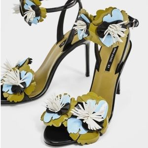 Zara Basic High Heel Sandals With Floral Detail
